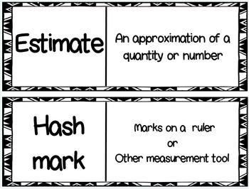 Eureka Math/Engage NY Module 2 Terminology Word Wall for 2nd Grade