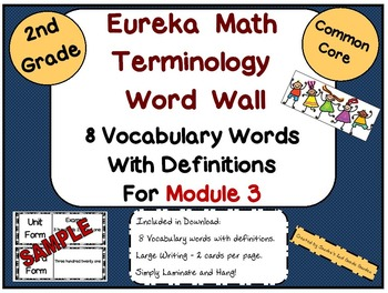 Eureka Math/Engage NY Module 3 Terminology Word Wall for 2nd Grade Common Core