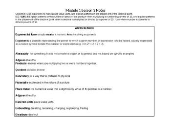 Eureka Module 1 Lesson 3 notes