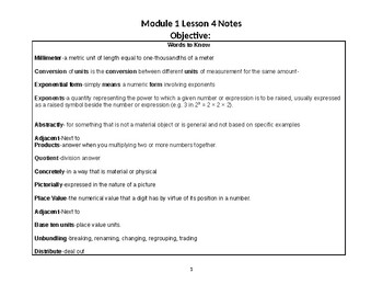 Eureka Module 1 Lesson 4 notes