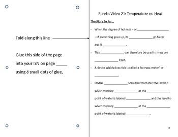 Eureka Video Worksheet - Episode 21 - Temperature vs. Heat