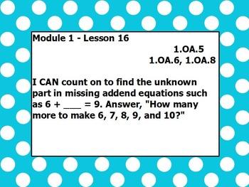 Eureka math module 1 lesson 16 first grade