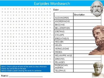 Euripides Wordsearch Sheet Starter Activity Keywords Cover English Playwright