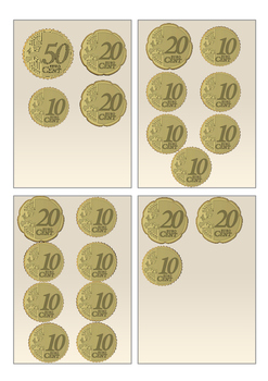 Euro Coin Amounts to 10cent and 100cent (Flash Cards)