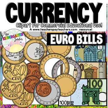 Euro Coins & Banknotes (scribble clips)