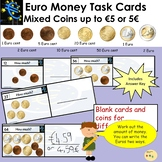 Euro Money Task Cards - Add up Mixed Coins to Value 5 Euros