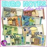 Euro Notes clip art: €5, €10, €20, €50, €100, €200