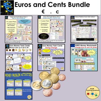 Euro and Euro Cents Money: PowerPoint, Worksheets, Word Problems BUNDLE