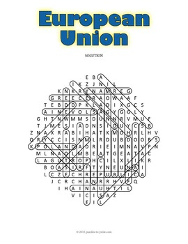Europe Geography Activity: European Union Word Search