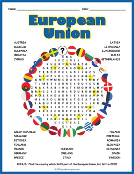 europe geography activity european union word search by puzzles to print. Black Bedroom Furniture Sets. Home Design Ideas