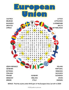 The European Union Worksheet for 7th - 8th Grade | Lesson Planet