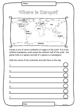 Europe 50 Countries Study - worksheets with maps and flags for each country
