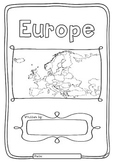 Europe 50 Countries Study - worksheets with maps and flags