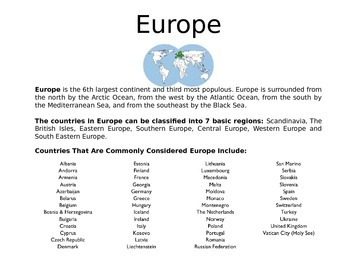 Europe - A World Region PowerPoint