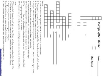 Europe After Rome Crossword