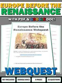 Europe Before the Renaissance - Webquest with Key (Google Doc Included)