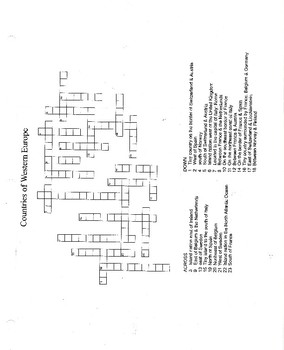 Europe Blank Map, CW Puzzles, & Test