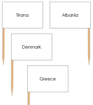Europe Capital City Labels - Pin Map Flags