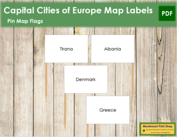 European Capital City Labels - Pin Map Flags