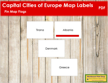 Europe Capital City Labels - Pin Map Flags (color-coded)