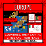 Europe: Countries, Flags & Capital Cities: PowerPoint + Montessori 3 Part Cards