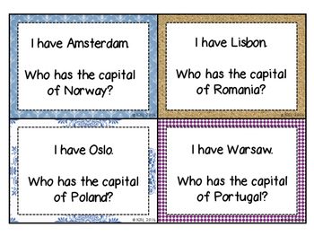 Europe: Countries and Capitals- I Have, Who Has