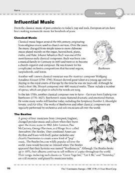 Europe: Culture: Fine Arts & Influential Music