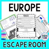 Europe ESCAPE ROOM!  Continents and Geography -  NO PREP, PRINT & GO!