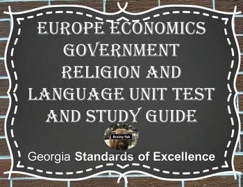 Europe Economics Government Religion and Language Unit Test and Study Guide