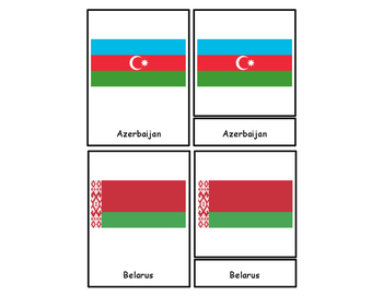 Europe Flags Three Part Cards