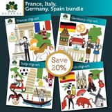 Europe - France, Germany, Italy, Spain - Clip Art Bundle