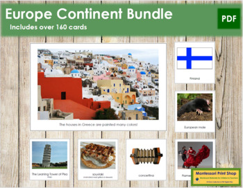 Europe Geography Continent Bundle - Montessori Geography Cards