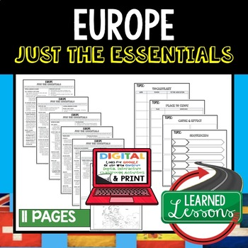 Europe Geography Outline Notes JUST THE ESSENTIALS Unit Review