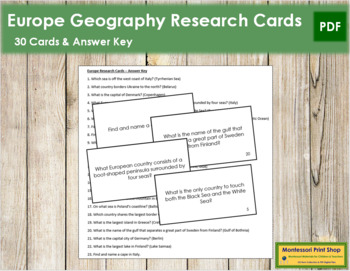 Europe Geography Research Cards