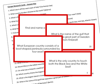 Europe Geography Research Cards (color borders)