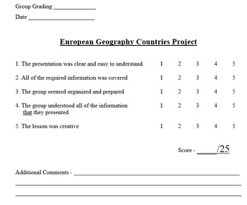 Europe Geography Research Project