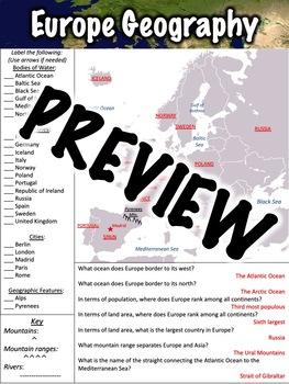 Europe Geography Worksheet