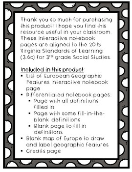 Europe Interactive Notebook