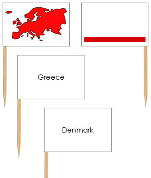 Europe Map Labels - Pin Map Flags (color-coded)
