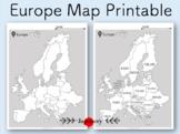 Europe Map Printable