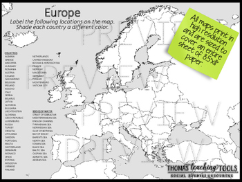 Europe Map Unit with Outline Map and Test by Thomas Teaching Tools