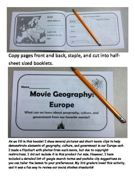 Europe Movie Geography Booklet