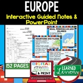 Europe Guided Notes and PowerPoints Geography Print & Digi
