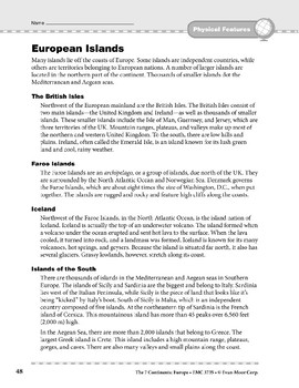 Europe: Physical Features: Islands