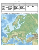Europe Physical Features Map Quiz