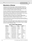 Europe: Physical Features: Mountains & Volcanoes