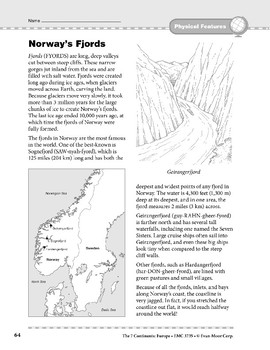 Europe: Physical Features: Norway's Fjords