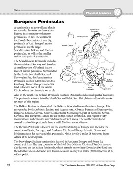 Europe: Physical Features: Peninsulas