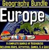 Europe Physical Geography Bundle Map Activities & Quizzes with Google Apps