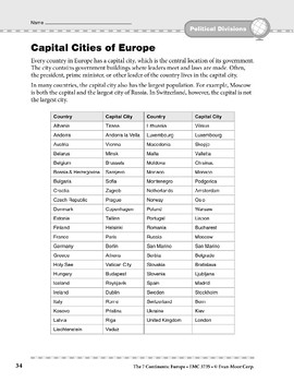 Europe: Political Divisions: Capital Cities